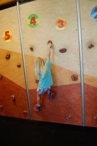 Climbing the rock wall at the children's museum.